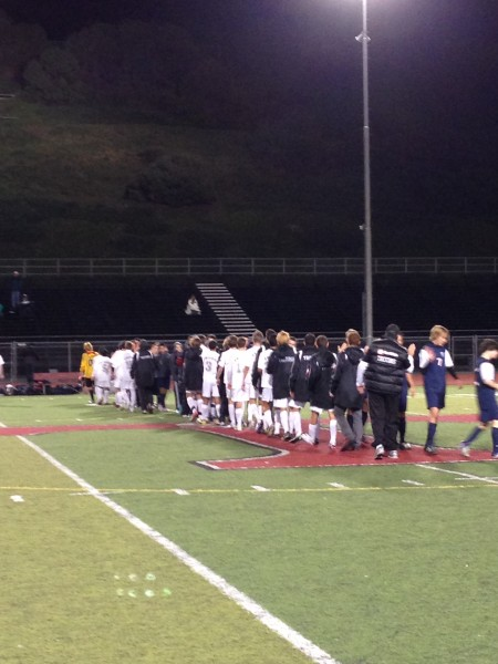 The San Clemente boys soccer team shakes hands after defeating Tesoro 3-0 on January 11. Photo by Steve Breazeale