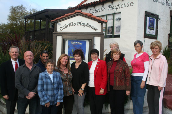 Members of the board of the Cabrillo Playhouse in front of the theater. The board is considering bringing back several popular shows from each of the theater's six decades for their anniversary season.  Photo by Jim Shilander