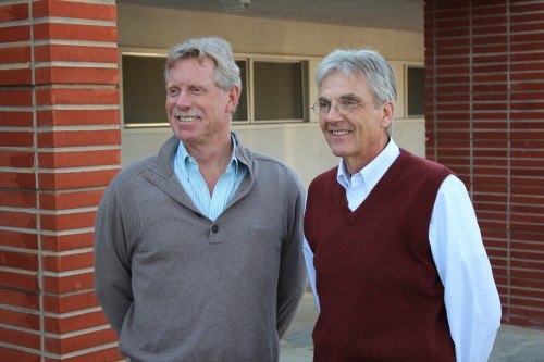New San Clemente City Manger Pall Gudgeirsson, right, took over the position Thursday from the retiring George Scarborough. Photo by Jim Shilander