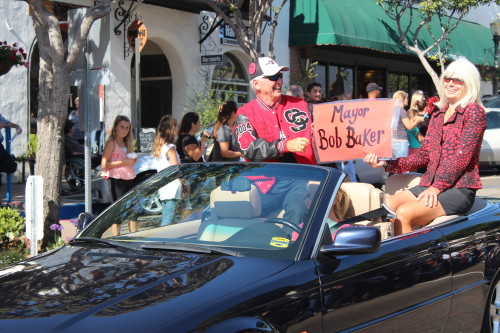 Mayor Bob Baker and wife Pam at the San Clemente High School Homecoming Parade earlier this fall. Photo by Jim Shilander