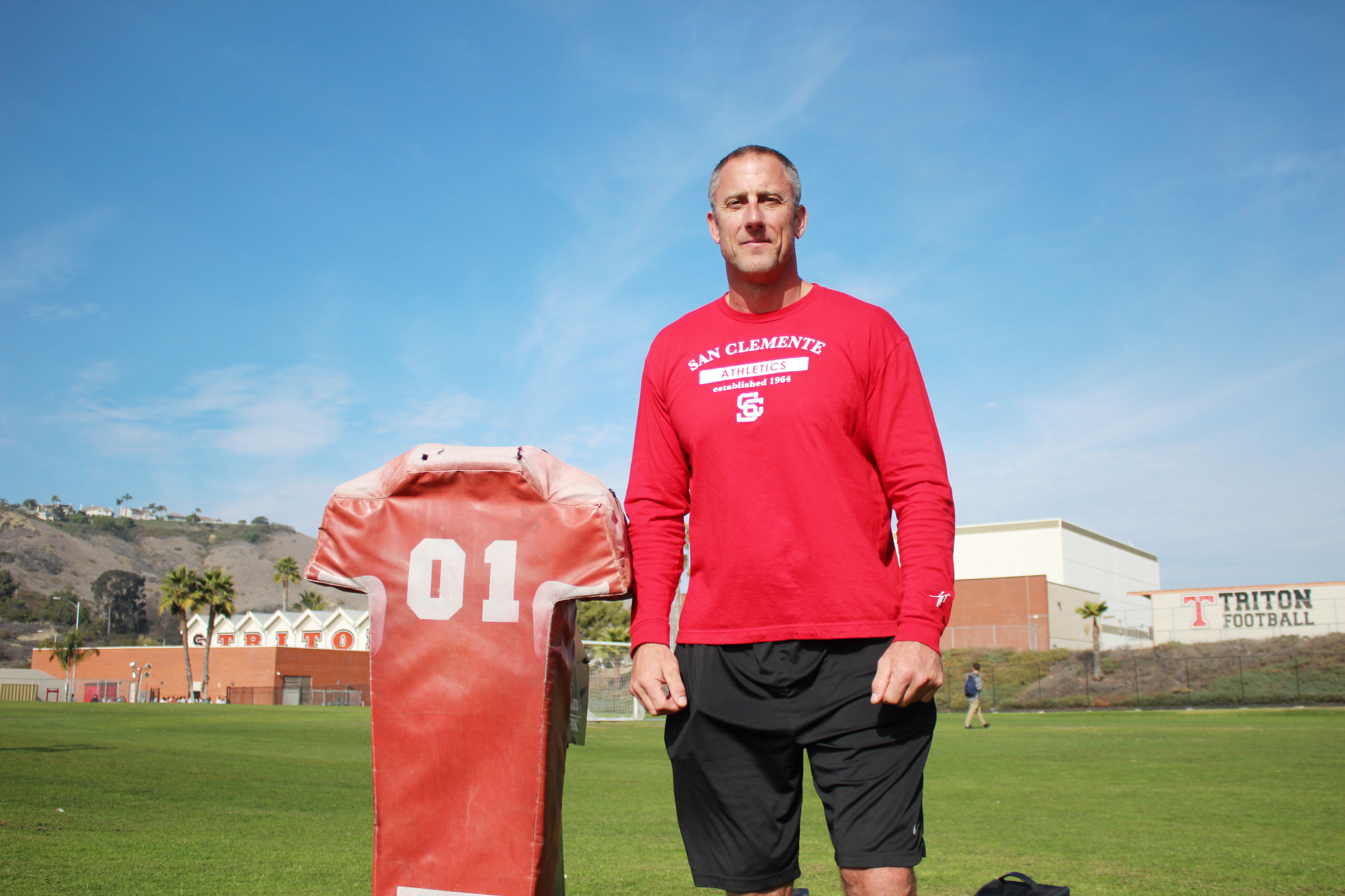 Pat Harlow, pictured, and colleague Lance Scott's Red Zone Elite training camp focuses on developing offensive and defensive linemen. Photo by Steve Breazeale