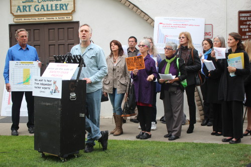 Anti-nuclear activist Ace Hoffman speaks at a press conference before Tuesday's first community engagement panel meeting at the San Clemente Community Center. Photo by Jim Shilander
