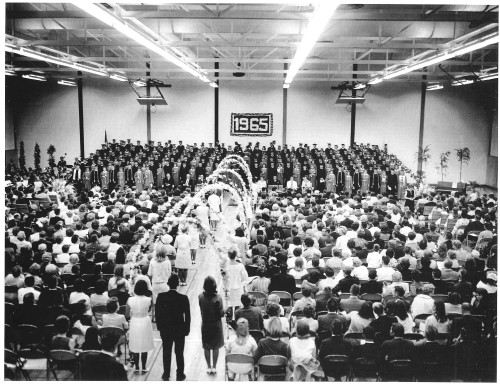 The first San Clemente High School graduation. All 50 graduating classes from the school are invited to Homecoming this year and efforts underway to create a bronze statue honoring all of the school's graduates. Photo: Courtesy