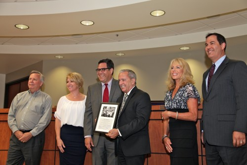 The Capistrano Unified School District Board of Trustees presented retiring Superintendent Joseph Farley with several proclamations of gratitude and mementos, including a custom-made watch inscribed with his name and the district seal. Photo: Brian Park