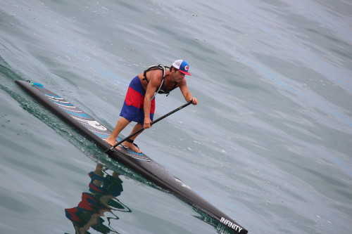 A stand-up paddleboard racer competes at Ocean Fest. Photo: Jim Shilander