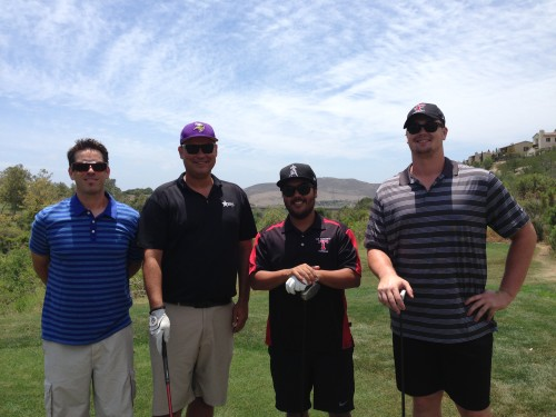 Former San Clemente High School standout and current tackle for the Minnesota Vikings Kevin Murphy, far right, tees it up with friends at the San Clemente Football Hall of Fame Golf Tournament on June 26. Photo: Steve Breazeale