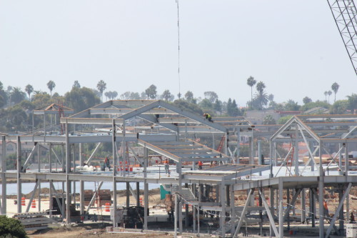 Workers make progress on a retail building for the Outlets at San Clemente. Photo: Jim Shilander