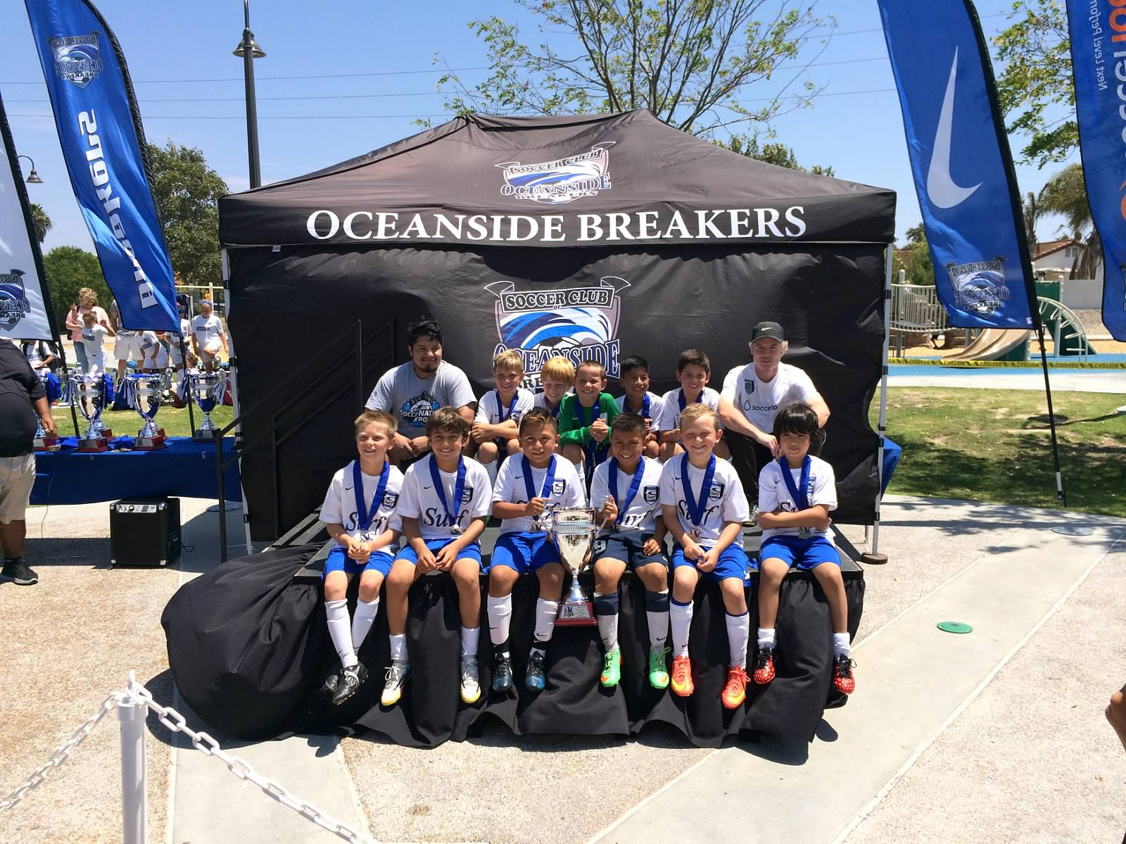 The San Clemente Surf B10 team won the SoCal Cup tournament in Oceanside on Aug. 10. Courtesy photo