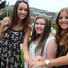 Saylor Voris, center, and close friends Megan Carroll, left and Morgan Bedard at the Voris home before they headed to SCHS Thursday. Carroll and Bedard have been Voris's closest confidantes during her recovery. They are wearing bracelets created to raise awareness of bone marrow transplants created to honor Saylor. Photo Jim Shilander