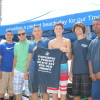 Patrick Sterba (holding T-shirt) and friends, regularly host Marines as part of the teen's Military Beach Day nonprofit organization. Typically, Sterba sets up between lifeguard towers 1 and 3 near the San Clemente Pier. Photo: Jim Shilander