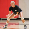 Natalie Knauf gets ready to receive a serve during a San Clemente girls volleyball practice. Photo: Steve Breazeale