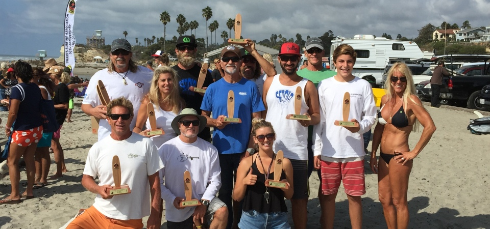 The Doheny Longboard Surfing Association surf team earned a third-place finish at the Swamis Return to the Reef Club Contest, Oct. 18-19 at Cardiff Reef. Photo: Sabrina Pearcy