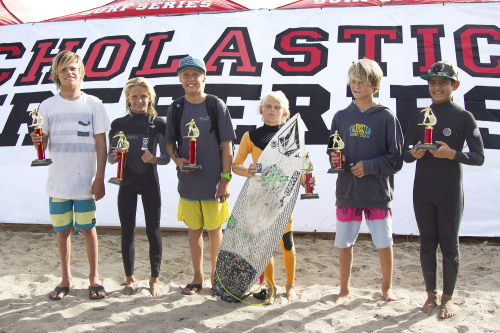 SSS Middle School Boys Division 1 finalists (L to R) Kade Matson, Sebastian Mendes, Kai McPhillips, Hagan Johnson, Kiko Nelson and Nico Coli, accept their trophies. All are from Shorecliffs Middle School, except Nelson, who surfs for Thurston. Photo: Sheri Crummer