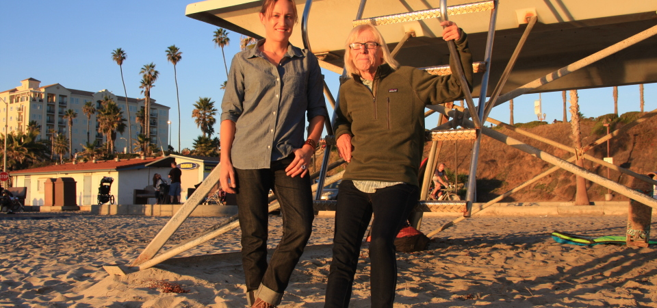 Cori Schumacher of Carlsbad and Sheri Crummer (right) of San Clemente and have announced the kick-off a fundraising campaign for the new History of Women's Surfing project. Photo: Andrea Swayne