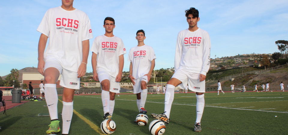 From L to R: Joe Iorio, Alex Drabkin, Eddie Molina and Matias Ledesma will lead the San Clemente boys soccer team on their journey for a fourth straight South Coast League title. Photo: Steve Breazeale