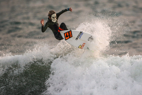 A masked Ryan Martin takes flight at Lowers. Photo: Jack McDaniel