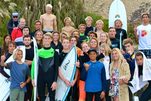 The San Clemente High School surf team celebrates after a recent win at Salt Creek Beach in Dana Point. Photo: Joe Hohenester