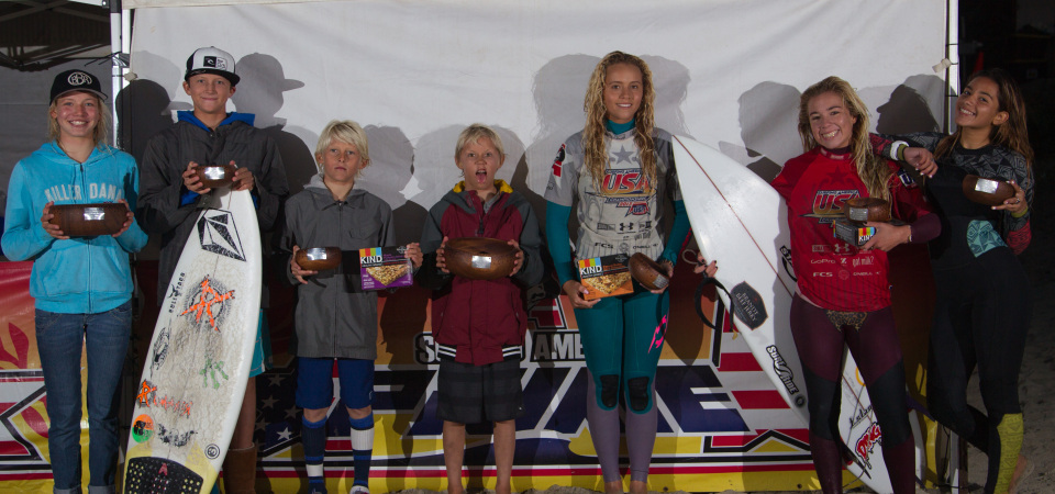 (L to R) Bethany Zelasko (Dana Point), and from San Clemente, Crosby Colapinto, Hagan Johnson, Jett Schilling, Malia Ward, Malia Osterkamp and Alexxa Elseewi were all finalists in the Surfing America Prime Event No. 3 at Salt Creek, Dec. 13-14. Not pictured, Griffin Colapinto. Photo: Jack McDaniel