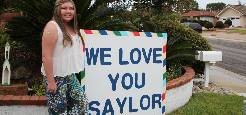 Saylor Voris on the day she returned to school at San Clemente High School. Voris passed away Tuesday, April 14.