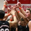 The San Clemente boys volleyball team wore orange wristbands in honor of Saylor Voris on April 14. Photo: Lynn Hopper