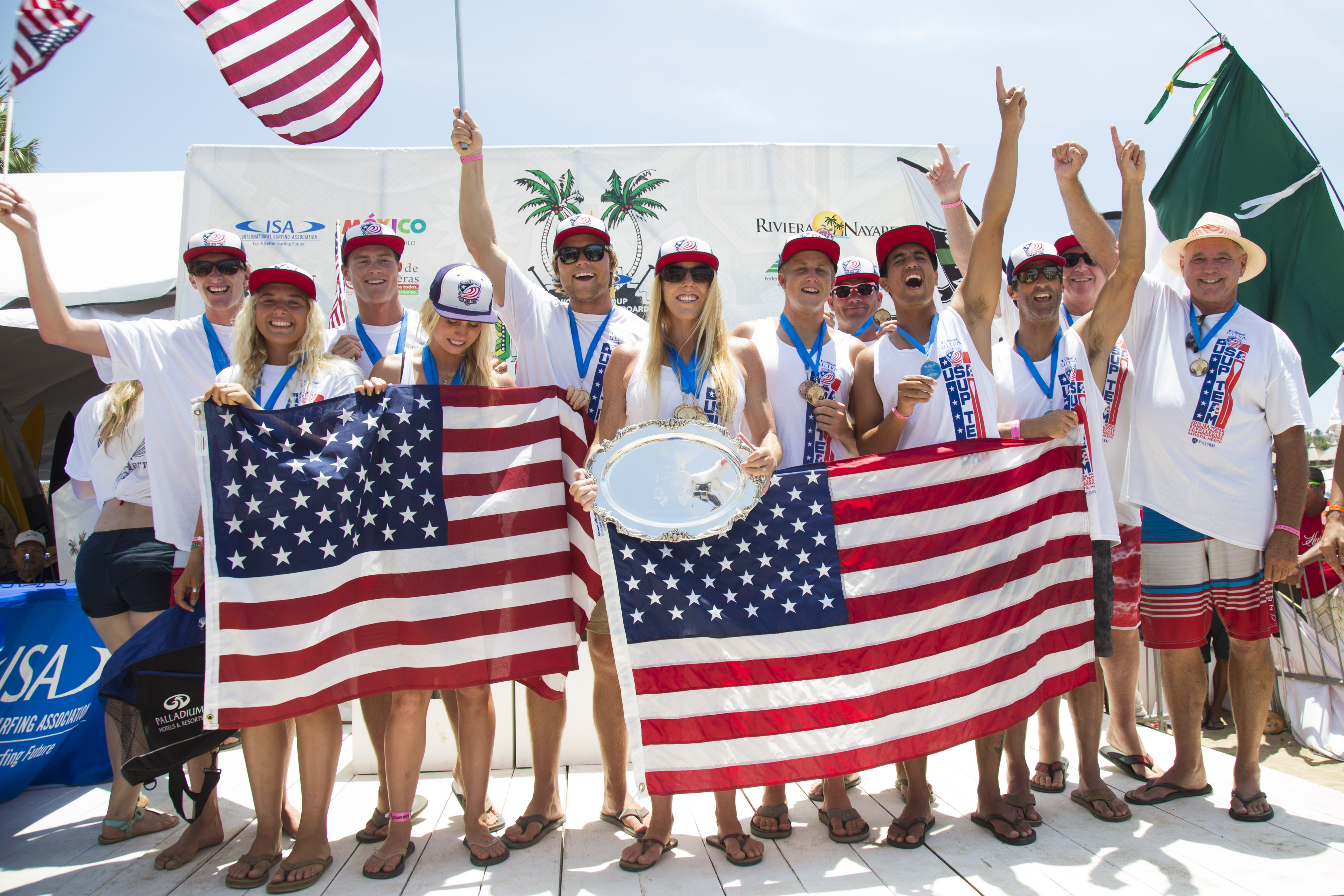 Team USA celebrates at the podium after winning the World Team Champion Trophy and team gold medal at the 2015 ISA World Stand-up Paddle (SUP) and Paddleboard Championship in Sayulita, Mexico. Photo: ISA/Ben Reed