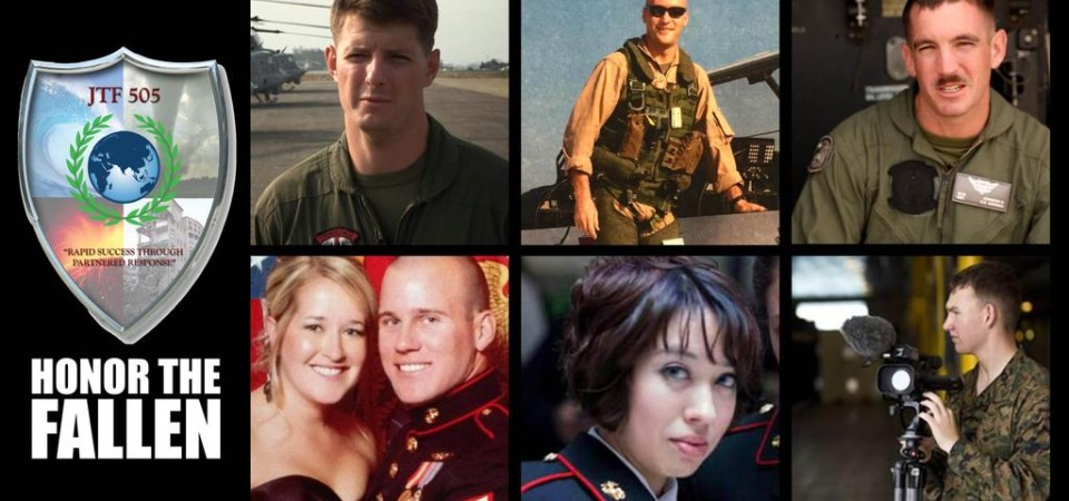 Six members of HMLA-469, including Capt. Dustin R. Lukasiewicz, 29, of Harlan, Neb.; Capt. Christopher L. Norgren, 31, of Sedgwick, Kan.; Sgt. Ward M. Johnson, IV, 29, of Seminole, Fla.; Sgt. Eric M. Seaman, 30, of Riverside, Calif.; Cpl. Sara A. Medina, 23, of Kane, Ill.; and Lance Cpl. Jacob A. Hug, 22, of Maricopa, Ariz. were killed May 12 when their helicopter went down in Nepal. Photo: Courtesy U.S. Marine Corps