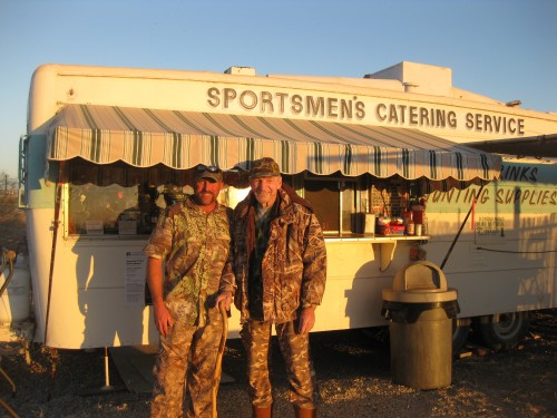 Max Berg stands with his grandson, Matt, at Salton Sea, a sportsman catering business he frequented. Photo: Courtesy of the Berg family