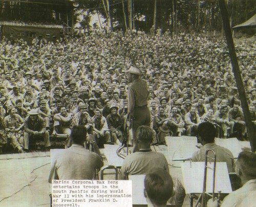 Max Berg, a former city of San Clemente city clerk, performs for U.S. troops during World War II on occupied islands near Japan. Photo: Courtesy of the Berg family