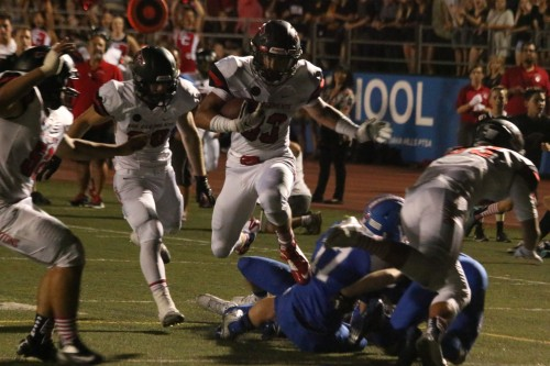 San Clemente sophomore running back Austin Whitsett rushed for 101 yards and two touchdowns against Dana Hills on Sept. 11. Photo: Eric Heinz