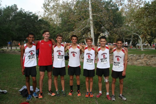 L to R: Carlos De Jesus, Connor Dunne, Sean Riley, Kaeden Carabba, Patrick Riley, Jeremy Brady and Daniel Hernandez and the San Clemente boys' cross-country team placed 10th at the Orange County Championships on Oct. 17. Photo: Scott Riley