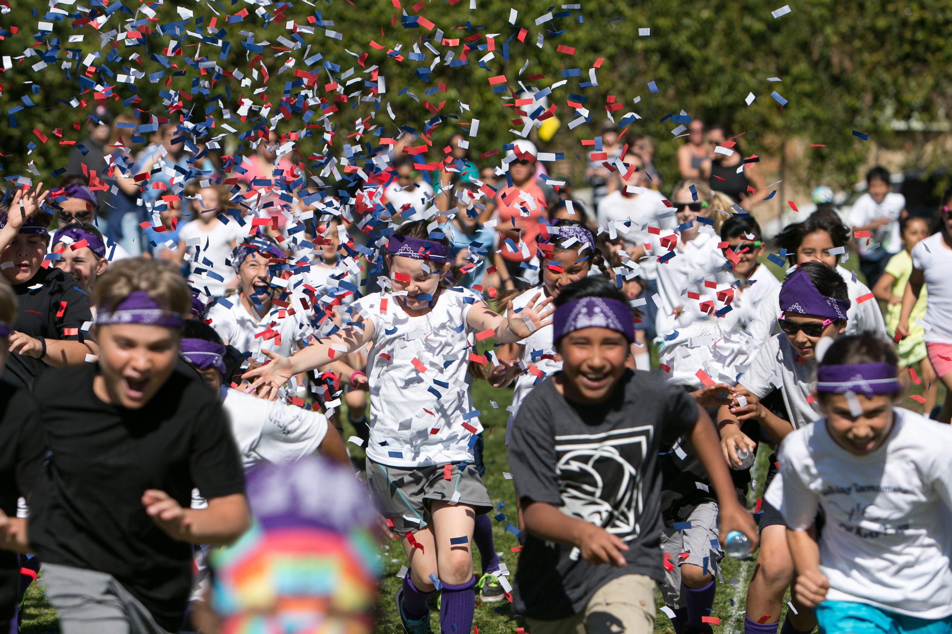 Confetti rains down on students who participate in last year's Jog-A-Thon. Photo: Courtesy of Rod Foster