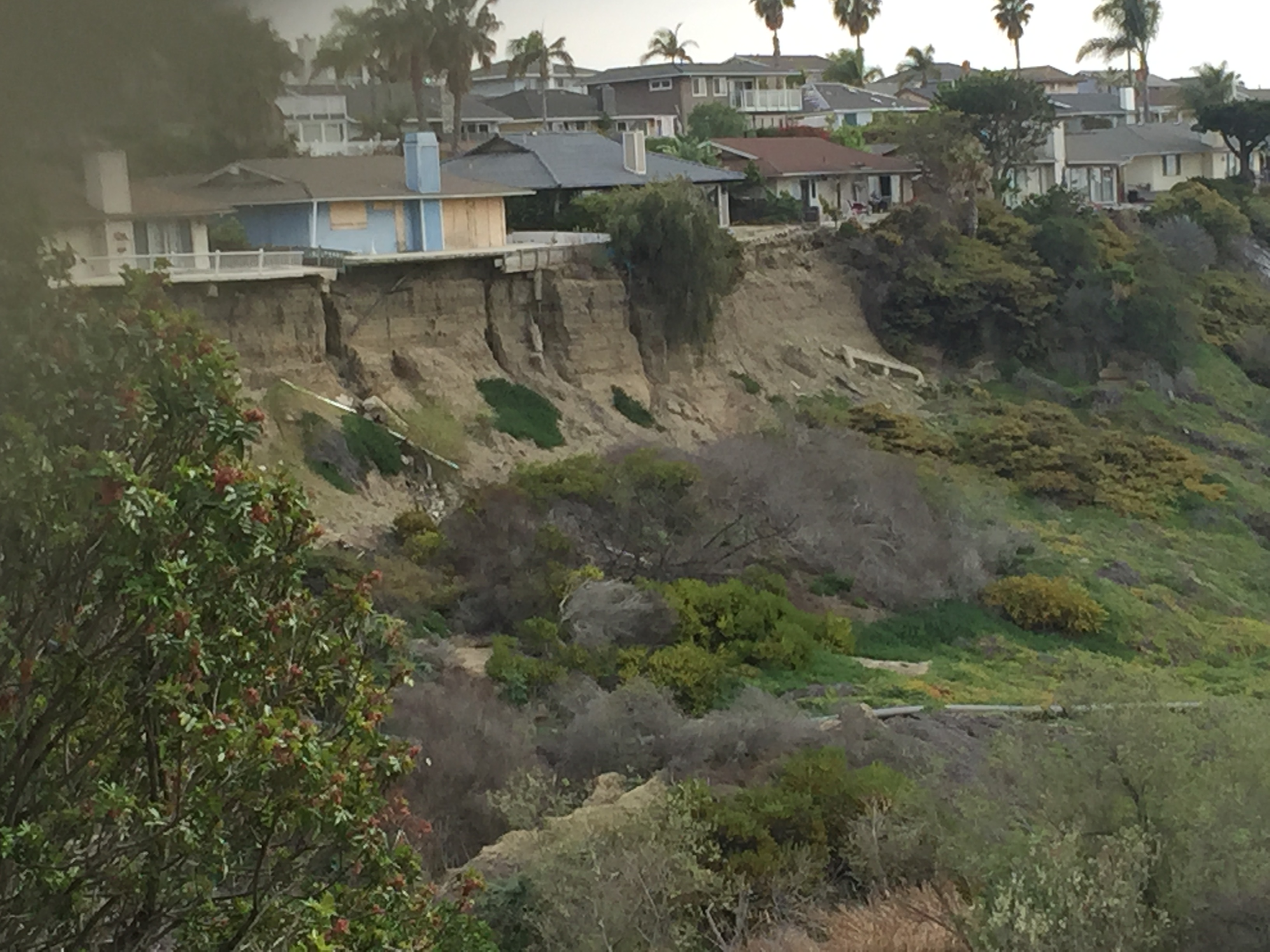 Damage to the bluffs from the landslide can be seen from the opposite side of the canyon. Photo: File