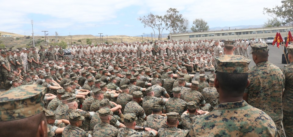 Lt. Col. Brian Greene speaks to the Marines of the 2/4 on Tuesday at Camp Pendleton. Photo: Eric Heinz