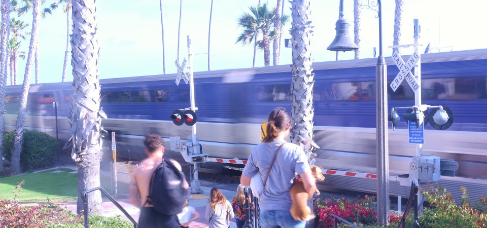 A train passes by at the San Clemente Pier station. The new audible warning systems that will be functional by June 24 are intended to limit the noise from horns on the train. Photo: Eric Heinz