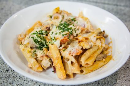 Penne pasta with blush sauce, chicken and vegetables. Photo: Allison Jarrell