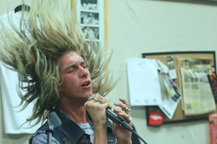 Fyggy Newton rehearses a song during a session of Beach Cities Rock Club with the band Black Kastle on Aug. 18 at Power Plant Records.