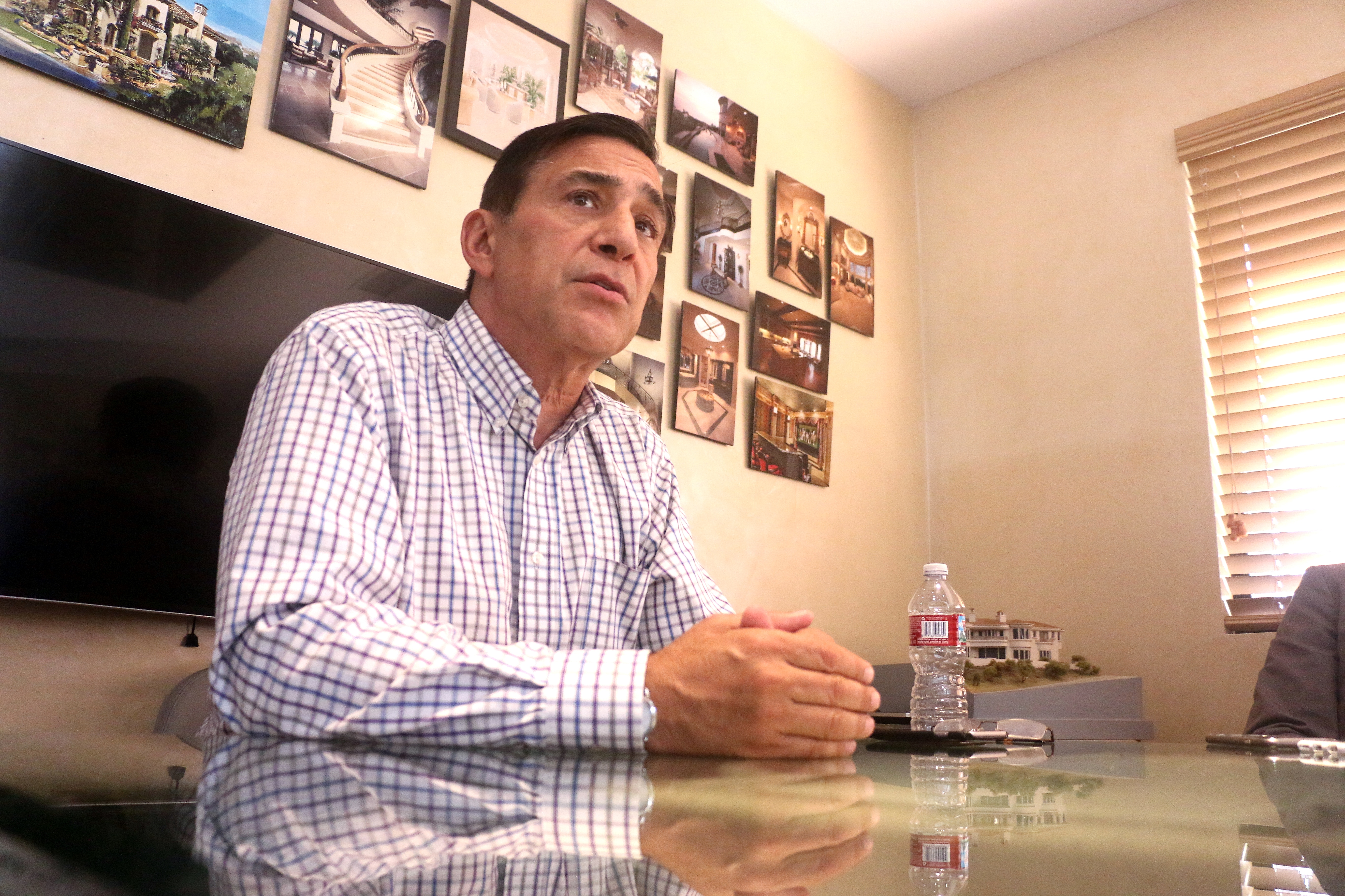 U.S. Congressman Darrell Issa responds to questions from the Picket Fence Media, owner of the San Clemente Times, editorial staff on Aug. 22. Photo: Eric Heinz