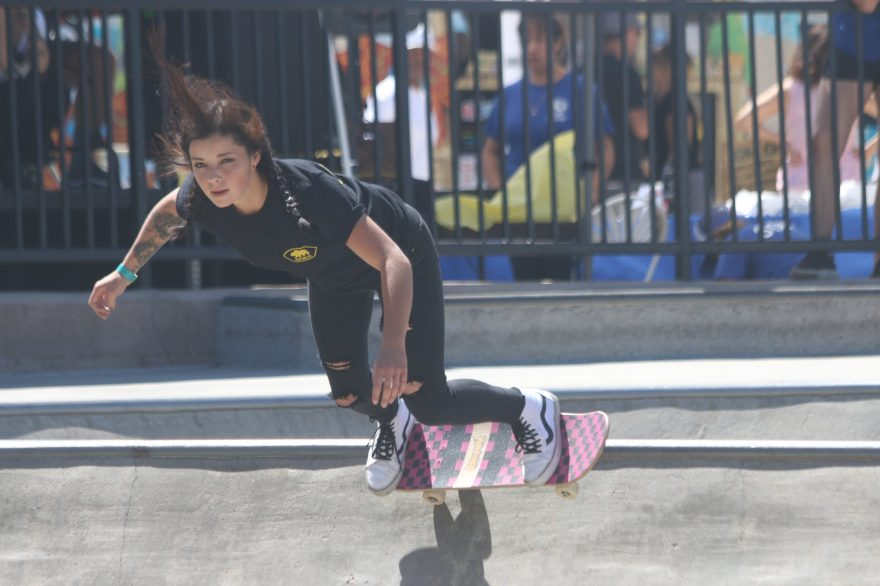 The lone competitor of the girls 17 and older competition looks toward her next feat on Saturday, Sept. 10, during the 16th annual SC Open Skate Contest at the Ralphs Skate Court. Photo: Eric Heinz