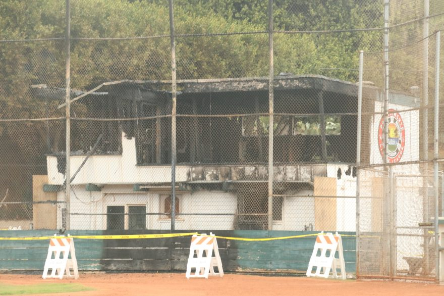 The announcers box and snack shop of the Arlie Waterman Field ballpark were heavily damaged in a fire early Sunday morning. Photo: Eric Heinz