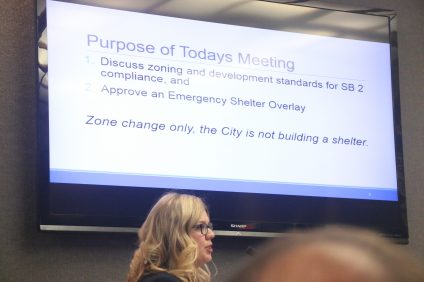 San Clemente associate planner Amber Gregg gives a presentation Tuesday, Oct. 18, about the homeless shelter overlay zoning. Photo: Eric Heinz