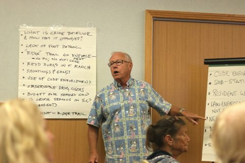 LeRoy Cox leads a discussion on solutions to the crime problems in San Clemente during a meeting on Tuesday, Oct. 25, at San Clemente City Hall. Photo: Eric Heinz