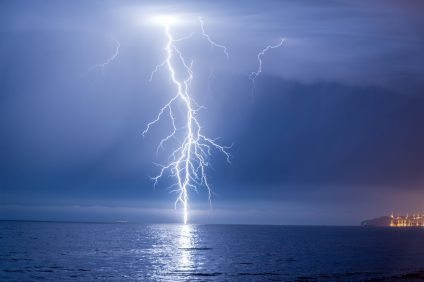 Lightning strikes the surface of the ocean on Monday, Oct. 24, off the coast of San Clemente and Dana Point. Photo: Courtesy of Matt Larmand
