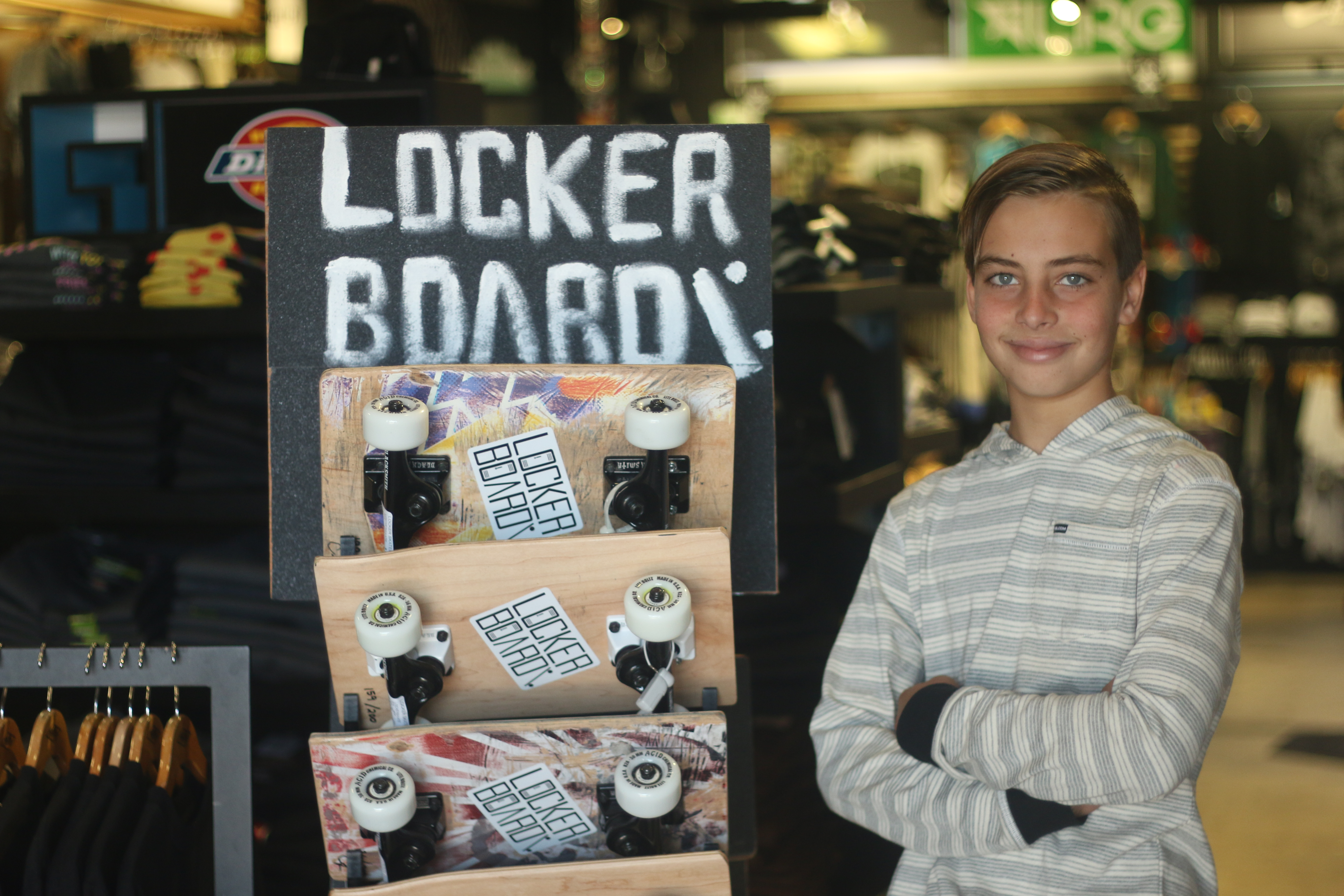 Carson Kropfl's Locker Board company is taking off and has a small space in Jack's Surfboards retail shop in Dana Point. Photo: Eric Heinz