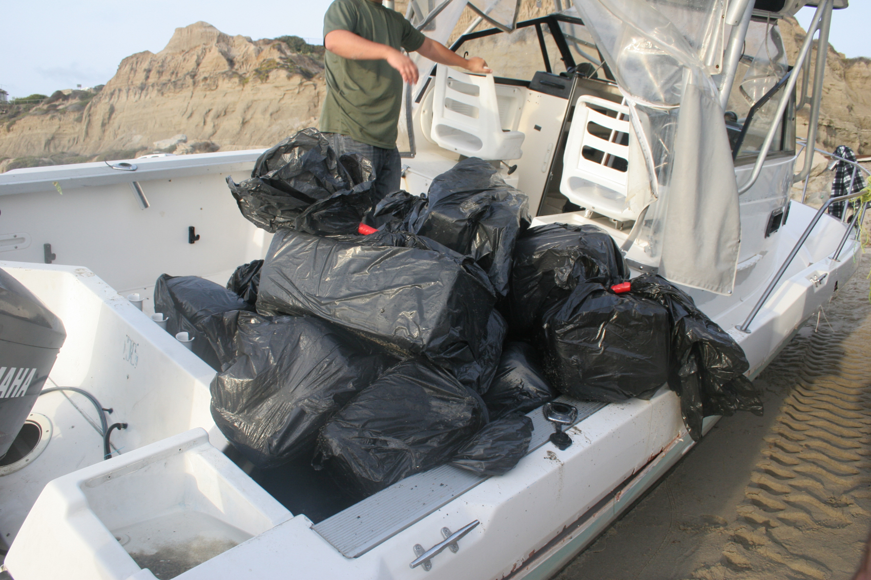 On Monday afternoon, Border Patrol agents seized more than a ton of marijuana from a recreational watercraft. Photo: Courtesy of U.S. Border Patrol