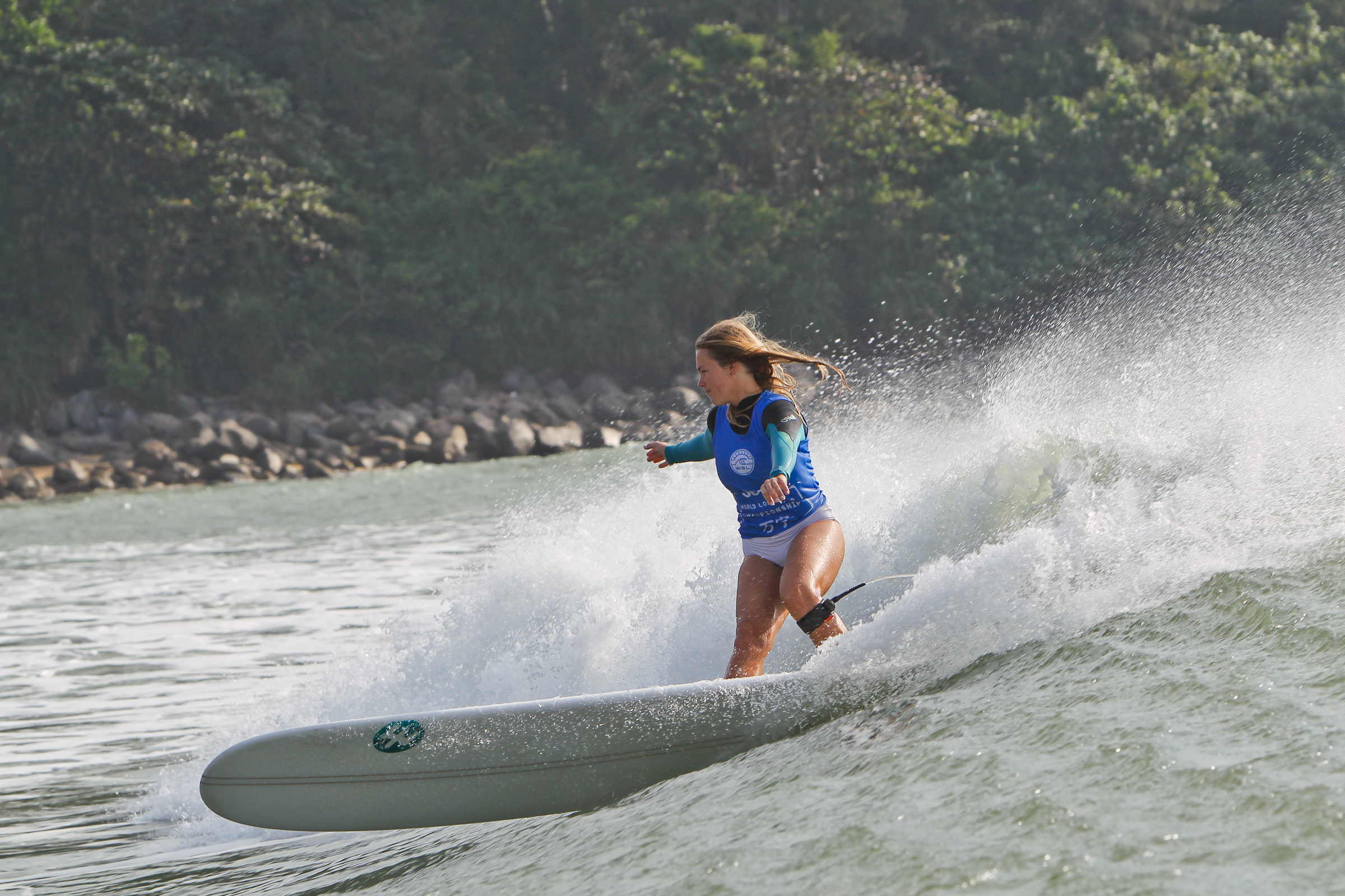 Photo: San Clemente's Tory Gilkerson took the Women's World Longboard Championship on Dec. 9 on the Chinese island of Hainan. Courtesy WSL/Bennett