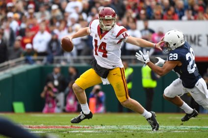 Sam Darnold threw a Rose Bowl record five touchdown passes and accounted for a record 474 total yards of offense on Jan. 2. Photo: USC Athletics and John McGillen
