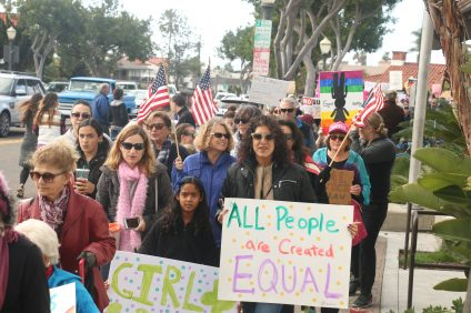 "Hundreds of people participated in the Women's March on Washington ""sister march"" on Saturday, Jan. 21, in San Clemente. Photo: Eric Heinz"