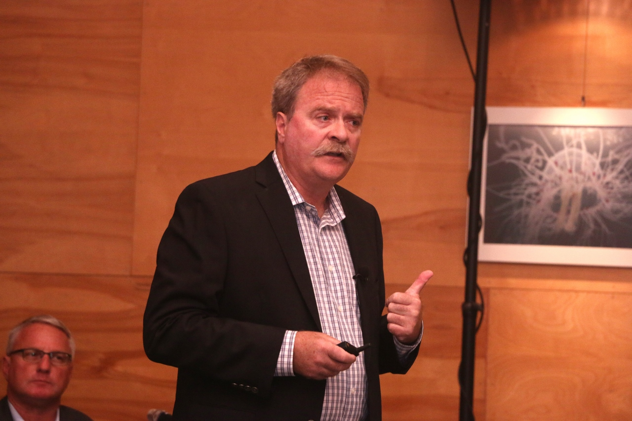 Dr. Neal Driscoll of the University of California-San Diego gave a presentation about seismic activity near SONGS, which included six years of research. Photo: Eric Heinz