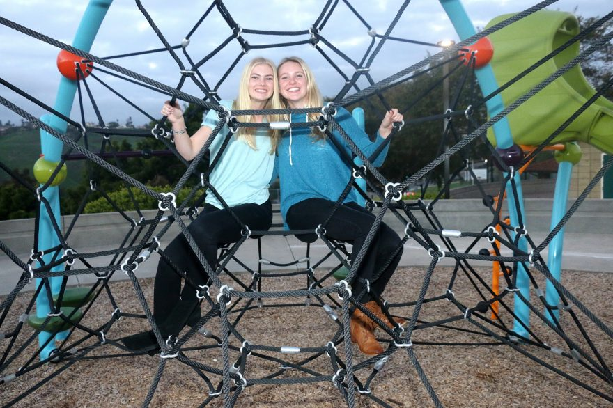 Sophia Mains, left, and Chloe Kamp, co-presidents of Future Problem Solvers at San Clemente High School, were one of 350 applicants selected to receive a grant from Disney and Youth Services America to host an event that helps their community. Photo: Eric Heinz