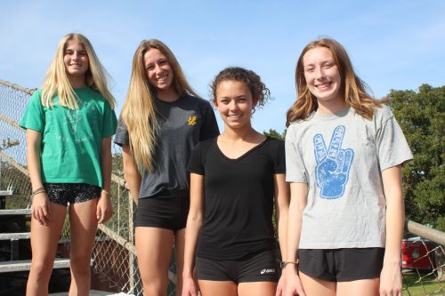L to R: Hana Catsimanes, Kirra Shulz, Chandler Horton and Chloe Patterson and the Triton girls track and field team head to the South Coast League in 2017.